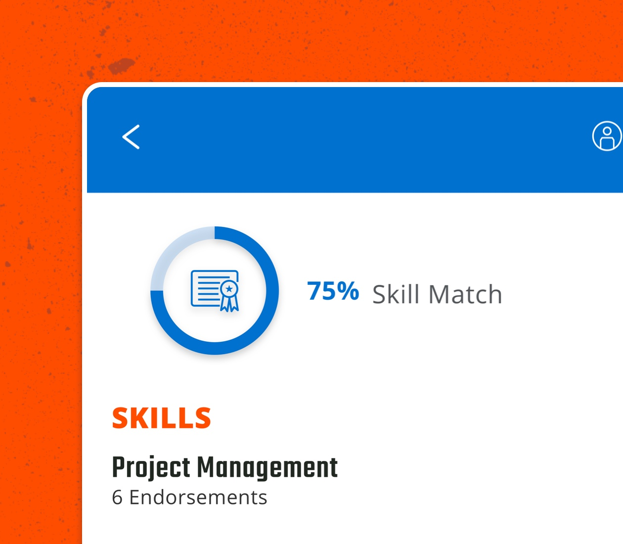 A card from the Tradeworthy Jobs app that visualizes how much a skill match a user is to a job.