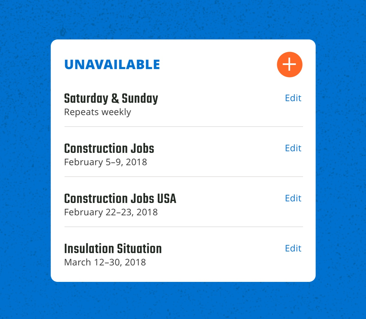 A card from the Tradeworthy Jobs app that visualizes a user's availability.