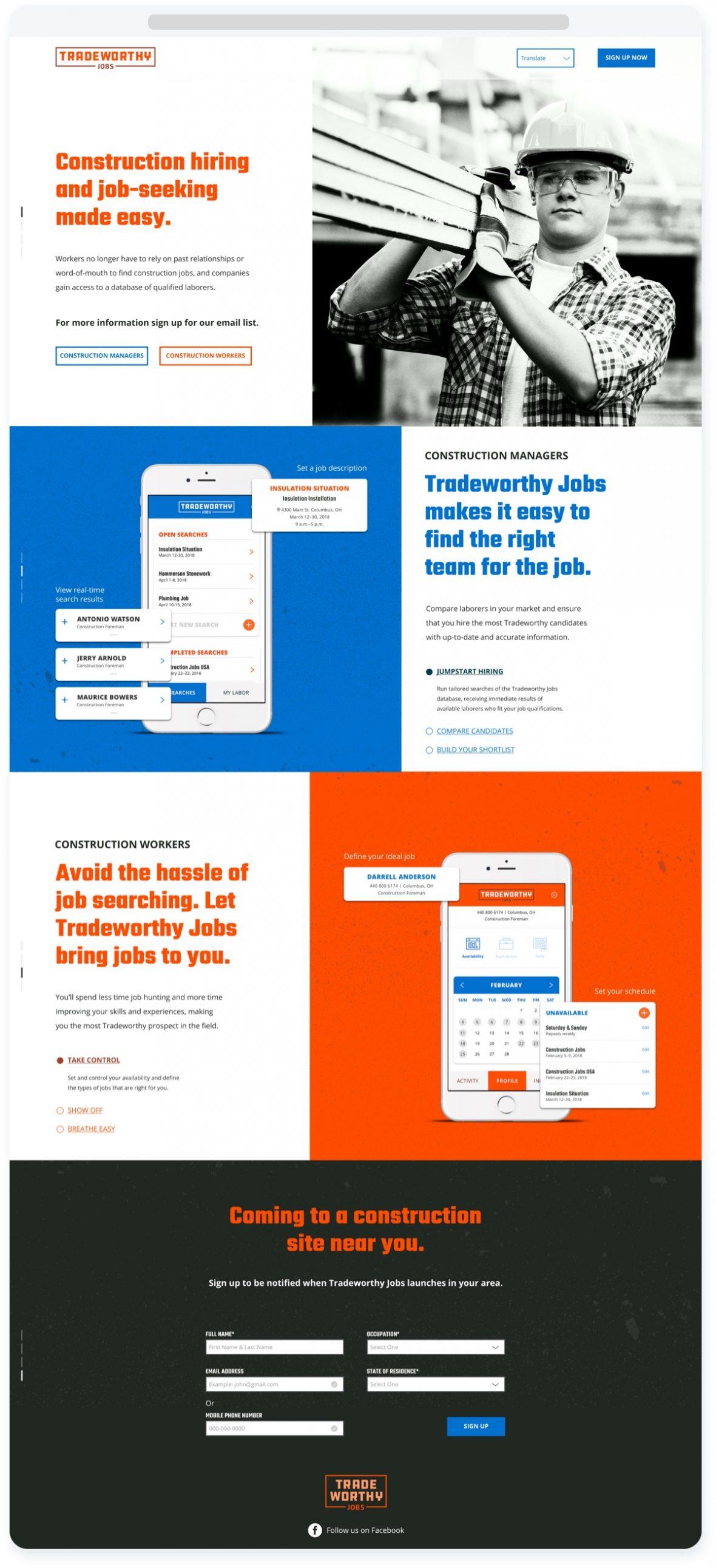 The Tradeworthy Jobs landing page.