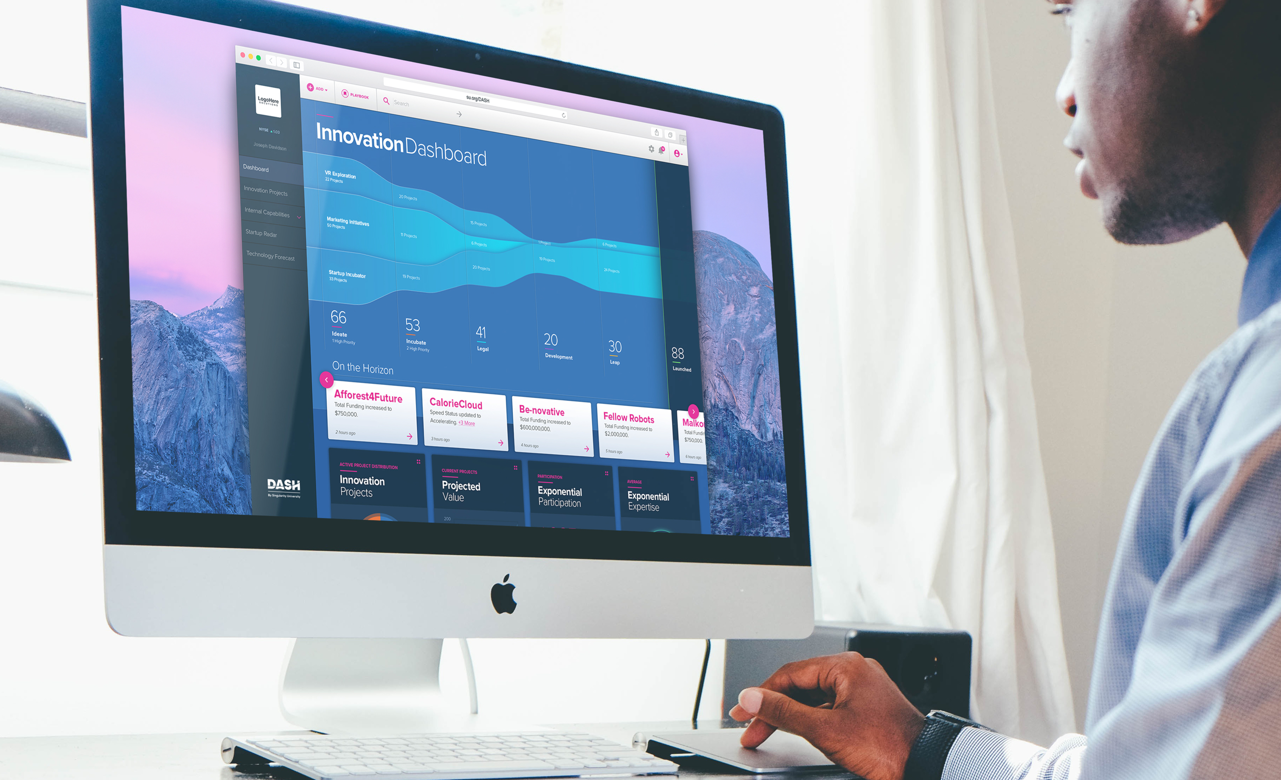 Man looking at the dashboard of DASH