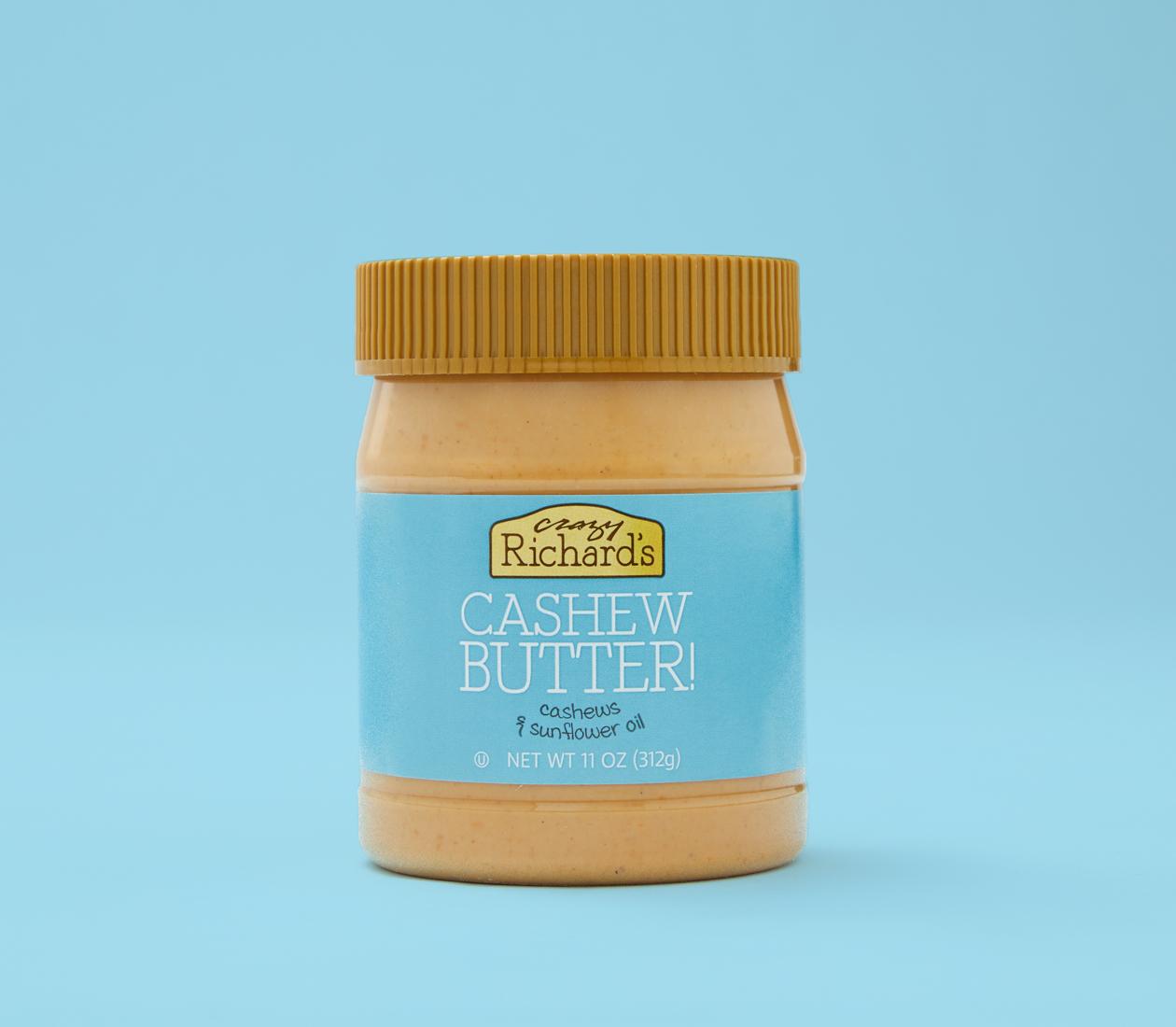 Crazy Richard's cashew butter on blue background