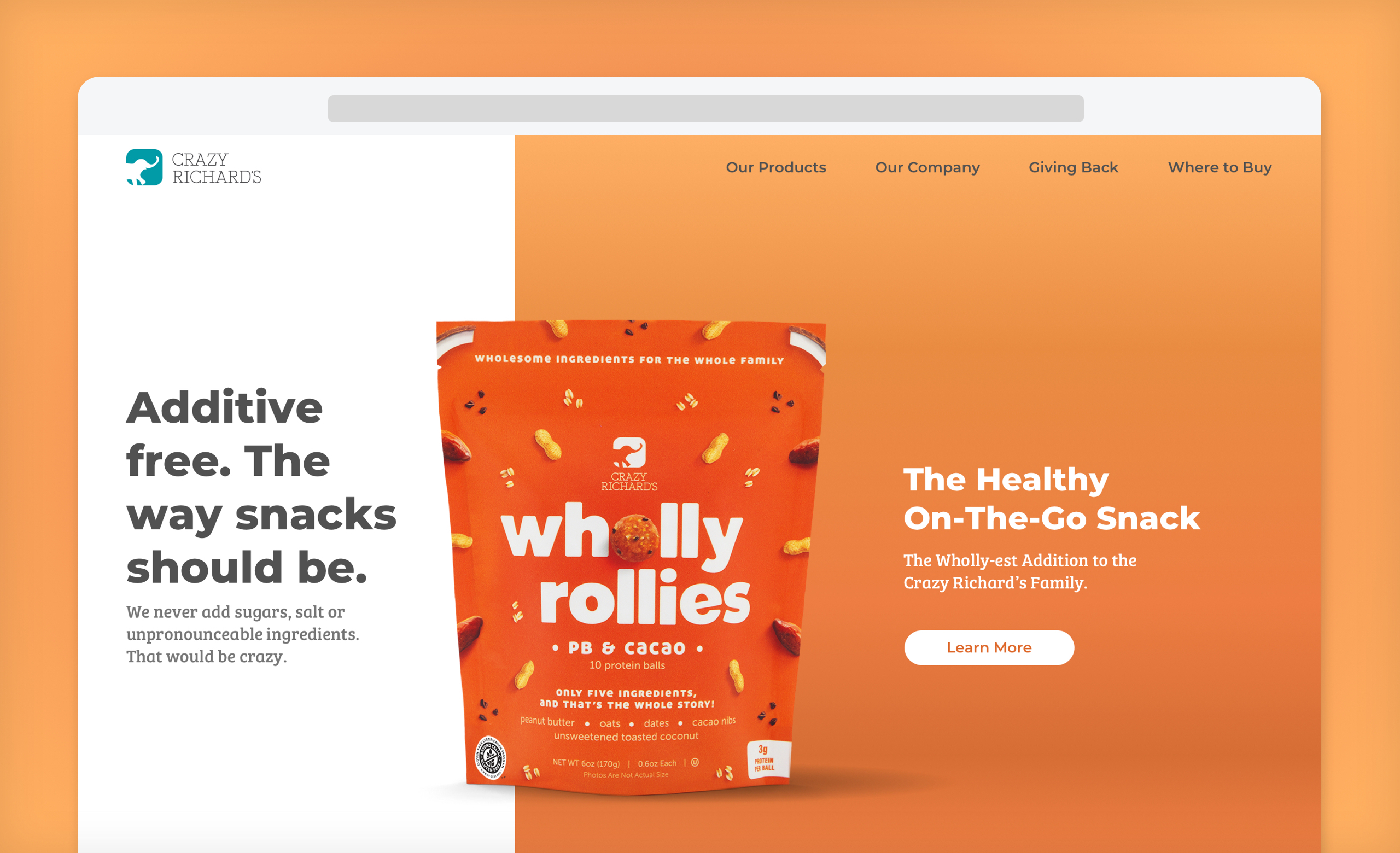 Crazy Richard's homepage mockup with Wholly Rollies